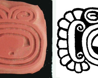 Mayan Glyph Codex Stamp #9 Design Tool for PMC Clay - Ceramic Clay - Polymer Clay - Textile Stamp - Scrap Booking Stamp - Mayan Glyph Codex