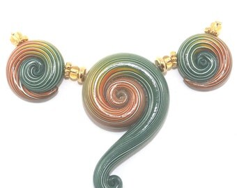 Ombre handmade beads for Jewelry making, Polymer Clay green and orange beads, spiral beads with stripes, 3 elegant gradient spiral beads