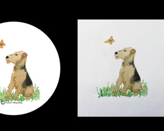 Airedale Terrier Dog And Butterfly stickers / envelope seals