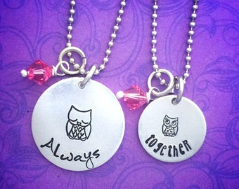 Mother daughter hand stamped necklace set - mommy and me - always together - matching set - owls - momma owl - baby owl - mini me