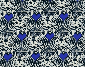 Cotton + Steel Tigerheart Fat Quarter by Sarah Watts Bluebird Collection Navy and White Tiger Modern Quilting Fabric Lion Fabric