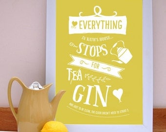 Everything Stops For Gin Gin Print/ Gin Lovers Print/ Humour Gift