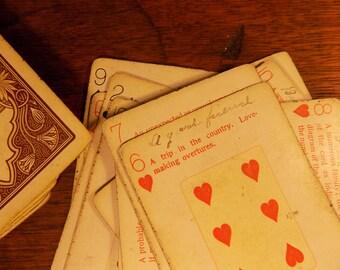 Sale NILE FORTUNE TELLING 1899 worn cards tarot odd written metaphysical new age reading cards  card spirit spiritual 68x gold edge brown bo