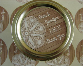 Mason Jar Favor Labels -  Wood and Lace Design - 20 - 2 Inch Round Personalized Labels