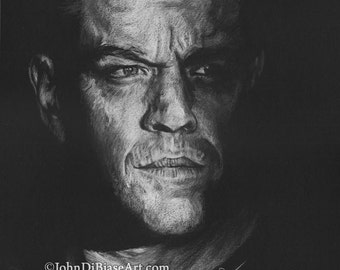 Drawing Print of Colored Pencil Drawing of Matt Damon as Jason Bourne