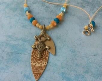 Boho necklace - paper necklace Tribal - ethnic necklace - long necklace