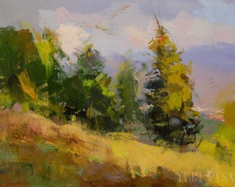 Forest Modern Landscape Painting, Autumn Nature Artwork, Original Oil Painting on Canvas by Yuri Pysar