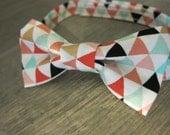 Boys Bow Tie- Geometric Triangle Bow Tie- Gold, Black, Mint, Coral Bow Tie- Adjustable Velcro Strap- Birthday Cake Smash, Photo Prop Bow Tie