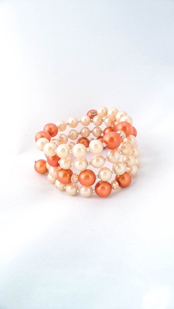 Vintage Faux Irridescent Cream and Orange Pearl beaded coil memory wire multi strand bracelet