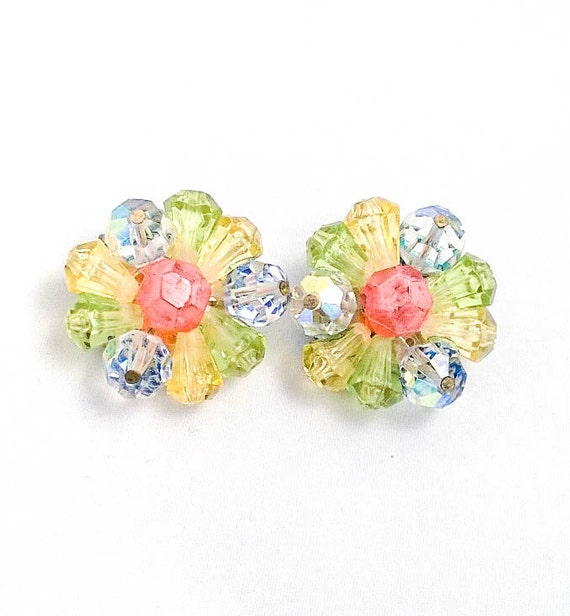 Vintage Rhinestone and multi colored Plastic Beaded Flower Button Cluster Clip Earrings