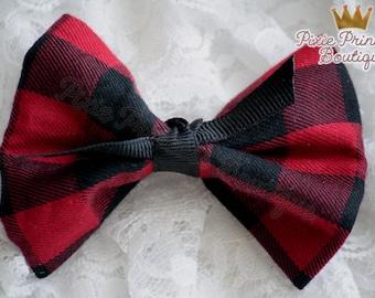 Pretty Plaid - Headband, Baby Headband, Photography Prop, Couture Headband Hair Clip, Bow Clip, Bow Headband, Plaid Bow, Red Plaid