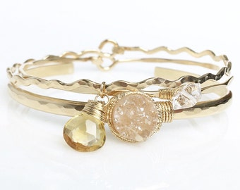 Bridal Champagne Druzy Quartz Cuff Set / Genuine Gemstone Bangle / Modern Bride Jewelry / Gifts for Her / Blush / Citrine / Herkimer Diamond