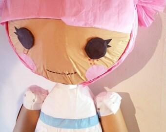Puppet Pinata Yours Truly Pink Lalaloopsy Inspired | Movable Limbs | Interactive Pinata | Rag Doll Pinata | Lalaloopsy Theme | Party Game