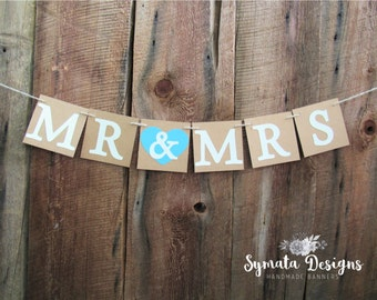Mr & Mrs wedding banners - wedding shower signs - rustic chic wedding banner - sweetheart table banner - IATY077