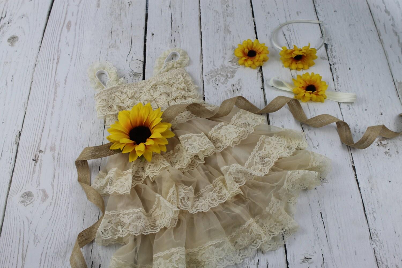 Champagne Flower Girl Dress Sunflower Flower Girl Dress