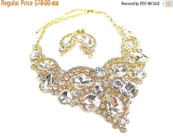 SALE 30% OFF Gold Bridal Necklace, Chunky Crystal Bridal Statement Necklace, Gold Crystal Necklace,Crystal Evening Necklace E - 115