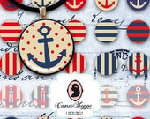 75% OFF SALE Digital Collage Sheet Circle VINTAGE Nautical 1 Inch Anchor Polka dots Digital Collage Bottlecaps Pendants Magnets