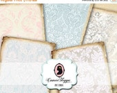 75% OFF SALE BAROQUE Old Paper Digital Collage Sheet Set of 8 Atc Cards Digital Tags Digital Collage Scrapbooking Background Instant Downloa