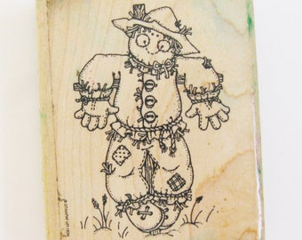 Large Scarecrow Rubber Stamp Fall Image Carved Rubber Wood Mount Scrapbooking Halloween Card Making Rubber Stamps Destash Art Craft Supplies