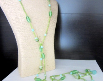 Long Glass Bead Lariat Necklace Flapper Sautoir 61 Inches