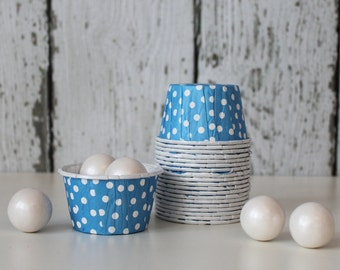 CANDY CUPS - Blue with White Dots - Set of 20 : The Paper Doll