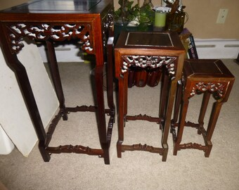 Carved Chinese Nesting Tables   Set Of 3 Hardwood Tables With Elaborate  Carved Sides And Cross