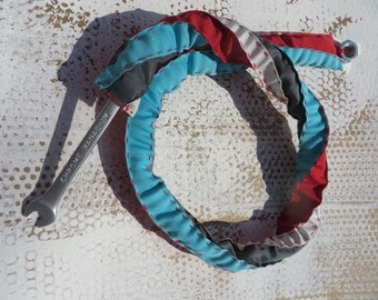 dottir / red, white and turquoise neckpiece / textile necklace / bolt and wrench necklace