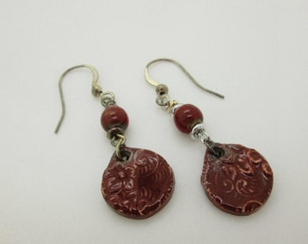 Autumn Ceramic Merlot Dangle Earrings, Burgundy Earrings, Casual Earrings