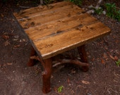 Private Listing for Wanda, Rustic Handmade End Table Log Cabin ,pair of brown side tables