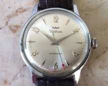 Vintage Men's Watch, Waltham Swiss Watch,  Mid Century Modern, Bauhaus Style, Chrome Plated Case, Manual Wind Watch