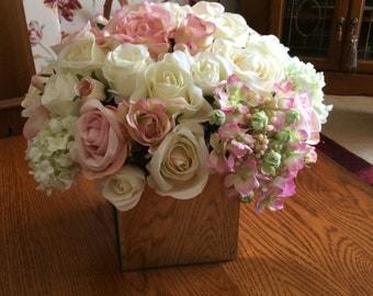 Artificial Silks Roses Pinks Creams Glass Cube Flower Arrangement