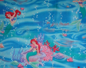 Two Blue Little Mermaid Waves/Bubbles  Cotton Fabric Remnants