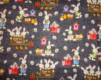 Gray Charcoal Easter Rabbit/Flowered Cotton Fabric by the Half Yard