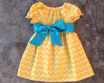 Baby girl clothes, toddler girl clothes, Little girl clothes, toddler girl outfits, Yellow chevron dress, personalized girl outfits summer