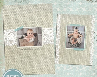 ON SALE INSTANT Download Templates for Photographers 5x7 Vintage Blue / Birth Announcement Card Psd Template vol.1