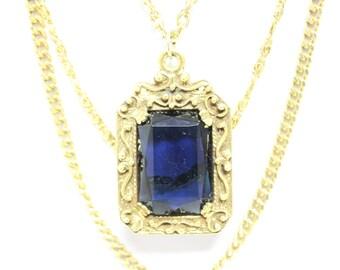 Vintage Blue Stone Faceted Gold Tone Goldette Necklace