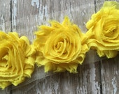 Sunny Yellow ** Shabby Flowers Chiffon Rosettes Shabby Flower trim- *Your choice of 1/2 yard or 1 Yard