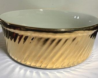 Hall Golden Glo soufflé dish, beautiful condition, 7.5 inch diameter  FREE SHIPPING
