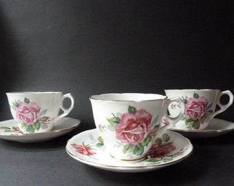 3 vintage coffee cups on saucers with roses, Staffordshire porcelain, VGC, free UK shipping