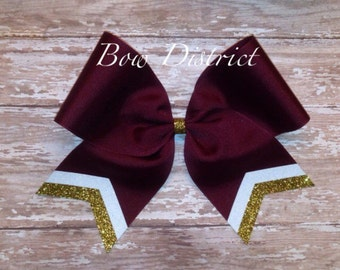 """3"""" Maroon Team Cheer Softball Volleyball Bow with White and Gold Glitter Tail Stripes"""