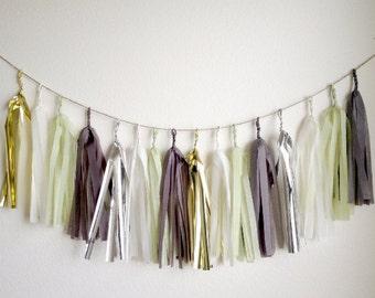 HALLOWEEN NIGHTFALL - Tissue Paper Tassel Garland, Tissue Paper Tassels, Wedding, Tassel Garland, Party Banner, Tassels, Gold Tassels