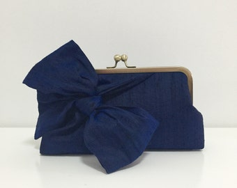 Navy blue Clutch, Wedding Clutch, Silk Clutch, Bridesmaids Clutch, Party Clutch, Bow Clutch, Bridal Clutch, mother of the bride, Style C002