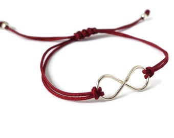 Unisex bracelet, Sterling Silver Infinity Bracelet, red wine, infinity, symbolic, yoga jewelry, friendship bracelet, minimalist, stacking