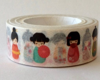 "NEW Washi Tape ""Kokeshi Dolls""   10 meters"