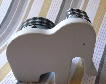 """Washi Tape Double Roll Tape Dispenser by """"Mas Cut"""" Small Grey Elephant  Includes Tape as Pictured"""