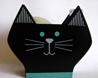 """New From Decole of Japan """"Awesome Cat"""" Wooden Tape Dispenser, Designed by """"Yuka Saji"""" in Black"""