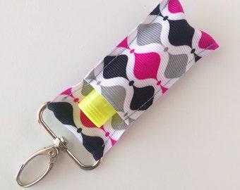 Lip Balm Holder - Chap Stick Holder - USB Holder - Pink, Gray, Black Design