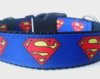 Superman Dog Collar - Adjustable Dog Collar - Superhero Dog Collar