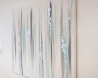 20x30 blue, gray and silver abstract with silver leaf and texture