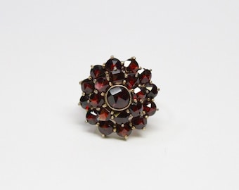 Antique Bohemian Garnet Ring - Gold Filled Top with 10k Gold Shank - All Original